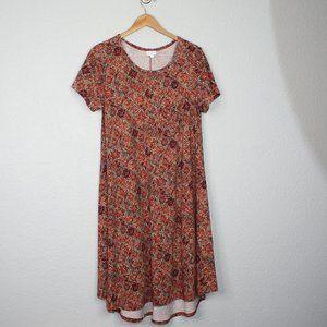 Lularoe Carly Floral Damatase Print Dress sz M